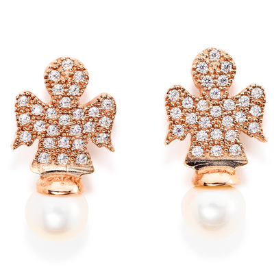 Rose Pearl Angel Studs by Amen - Available at SHOPKURY.COM. Free Shipping on orders over $200. Trusted jewelers since 1965, from San Juan, Puerto Rico.