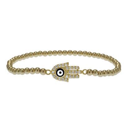 Hamsa Evil Eye Bead Bracelet 3MM by Kury - Available at SHOPKURY.COM. Free Shipping on orders over $200. Trusted jewelers since 1965, from San Juan, Puerto Rico.