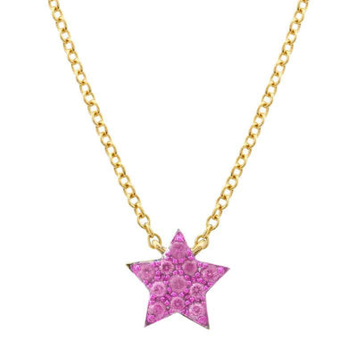 Pink Sapphire Star Necklace by Kury - Available at SHOPKURY.COM. Free Shipping on orders over $200. Trusted jewelers since 1965, from San Juan, Puerto Rico.