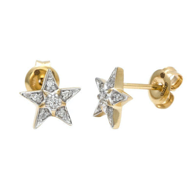 Diamond Star Two Tone Stud Earrings - Kury Jewelry