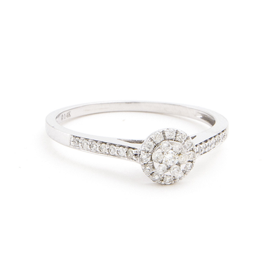 Round Halo .20ct Diamond Ring by Kury - Available at SHOPKURY.COM. Free Shipping on orders over $200. Trusted jewelers since 1965, from San Juan, Puerto Rico.
