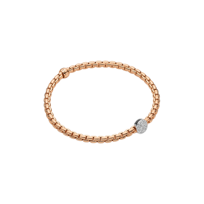 Rose Gold Bracelet with Pave Rondel - SHOPKURY.COM