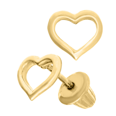 Open Heart Smooth Kids Earrings by Kury - Available at SHOPKURY.COM. Free Shipping on orders over $200. Trusted jewelers since 1965, from San Juan, Puerto Rico.
