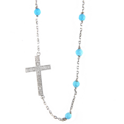 Side Cross Turquoise Cross Necklace by Kury - Available at SHOPKURY.COM. Free Shipping on orders over $200. Trusted jewelers since 1965, from San Juan, Puerto Rico.