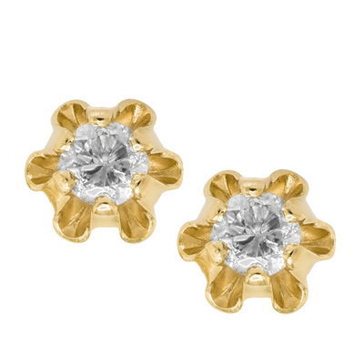 .08ct Diamond Stud Earrings 14K by Kury - Available at SHOPKURY.COM. Free Shipping on orders over $200. Trusted jewelers since 1965, from San Juan, Puerto Rico.