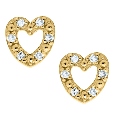 Open Heart Diamonds Kids Stud Earrings 14K by Kury - Available at SHOPKURY.COM. Free Shipping on orders over $200. Trusted jewelers since 1965, from San Juan, Puerto Rico.