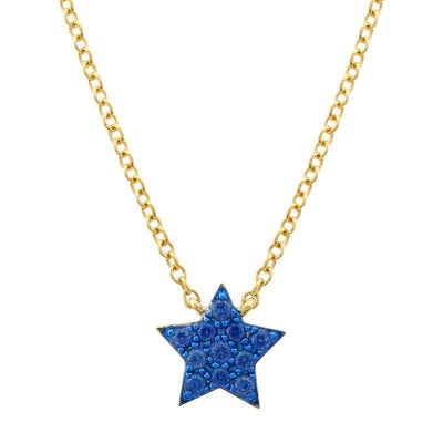 Blue Sapphire Star Necklace 14K by Kury - Available at SHOPKURY.COM. Free Shipping on orders over $200. Trusted jewelers since 1965, from San Juan, Puerto Rico.