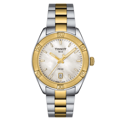 PR 100 Mother Pearl by Tissot - Available at SHOPKURY.COM. Free Shipping on orders over $200. Trusted jewelers since 1965, from San Juan, Puerto Rico.
