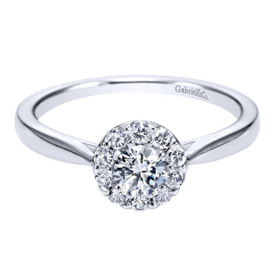 Round Halo Diamond Ring by Gabriel & Co. - Available at SHOPKURY.COM. Free Shipping on orders over $200. Trusted jewelers since 1965, from San Juan, Puerto Rico.