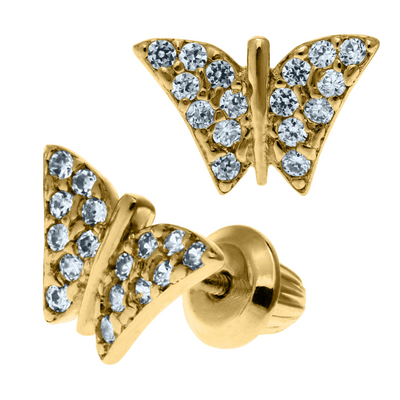 Butterfly Zirconia Stud Earrings 14K by Kury - Available at SHOPKURY.COM. Free Shipping on orders over $200. Trusted jewelers since 1965, from San Juan, Puerto Rico.