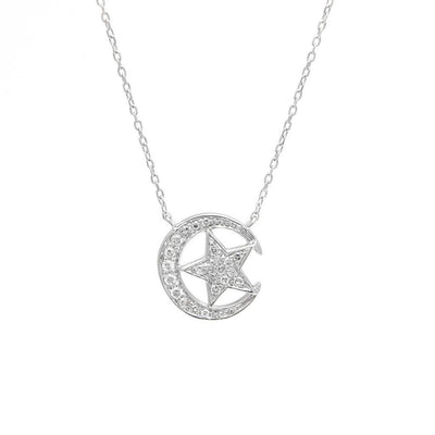 Moon and Star Necklace by Kury - Available at SHOPKURY.COM. Free Shipping on orders over $200. Trusted jewelers since 1965, from San Juan, Puerto Rico.