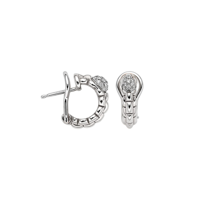 White Gold Pave Earrings - SHOPKURY.COM