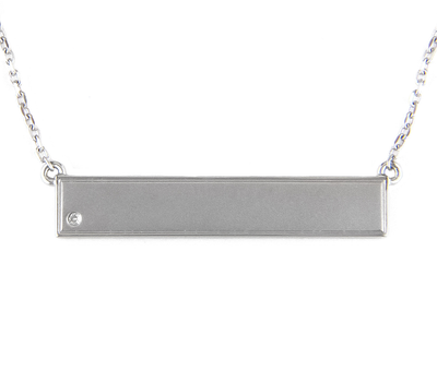 Silver Bar with Diamond Necklace by Kury - Available at SHOPKURY.COM. Free Shipping on orders over $200. Trusted jewelers since 1965, from San Juan, Puerto Rico.