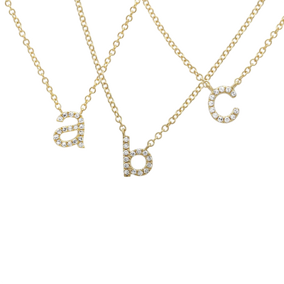 Lowercase Diamond Initial Necklace 14K by Kury - Available at SHOPKURY.COM. Free Shipping on orders over $200. Trusted jewelers since 1965, from San Juan, Puerto Rico.