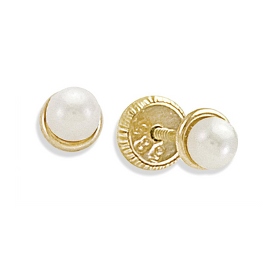 Gold Bezel Pearl Stud Earrings by Kury - Available at SHOPKURY.COM. Free Shipping on orders over $200. Trusted jewelers since 1965, from San Juan, Puerto Rico.
