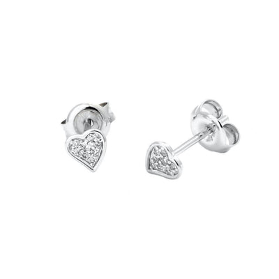 Fun Diamond Heart Stud Earrings - Kury Jewelry
