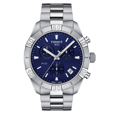 PR 100 Sport Chrono Blue by Tissot - Available at SHOPKURY.COM. Free Shipping on orders over $200. Trusted jewelers since 1965, from San Juan, Puerto Rico.