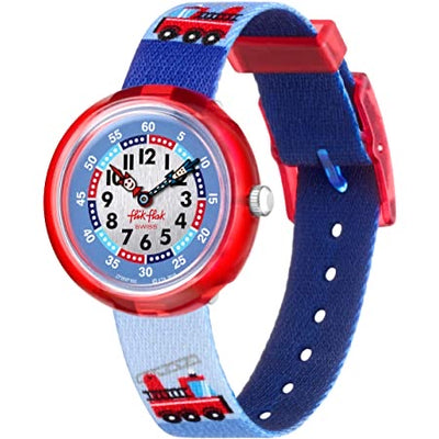 Firetruck by Flik Flak by Swatch - Available at SHOPKURY.COM. Free Shipping on orders over $200. Trusted jewelers since 1965, from San Juan, Puerto Rico.