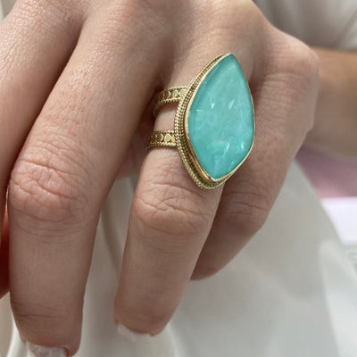 AB | Sterling Silver Ring with Yellow Gold Plating and large turquoise stone. Final sale. - Kury Jewelry