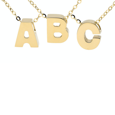 8mm Yellow Gold Block Initial Necklace by Kury - Available at SHOPKURY.COM. Free Shipping on orders over $200. Trusted jewelers since 1965, from San Juan, Puerto Rico.