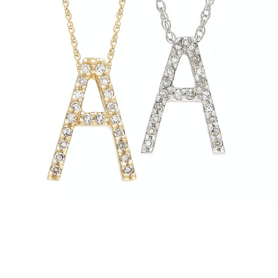 14K Diamond Large Initial Necklace by Kury - Available at SHOPKURY.COM. Free Shipping on orders over $200. Trusted jewelers since 1965, from San Juan, Puerto Rico.