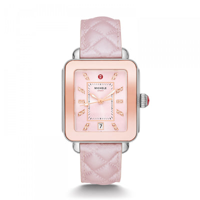 Deco Sport Pink Quilted by MICHELE - Available at SHOPKURY.COM. Free Shipping on orders over $200. Trusted jewelers since 1965, from San Juan, Puerto Rico.