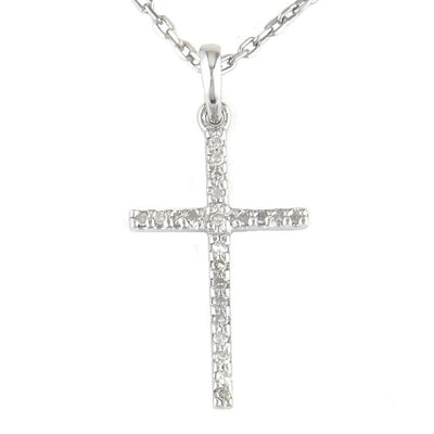 Silver Diamond Cross Necklace by Kury - Available at SHOPKURY.COM. Free Shipping on orders over $200. Trusted jewelers since 1965, from San Juan, Puerto Rico.