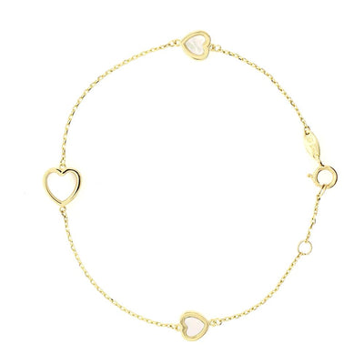 Mother Pearl Gold Hearts Bracelet by Kury - Available at SHOPKURY.COM. Free Shipping on orders over $200. Trusted jewelers since 1965, from San Juan, Puerto Rico.