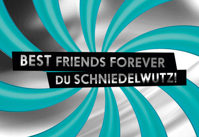 FCK YOU CARDS: Best Friends Schniedelwutz lustige Grußkarte Frontabbildung