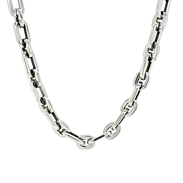 Stainless steel chain ring loop necklace hanging.