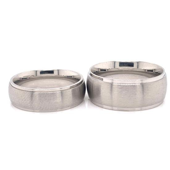 Wide Brushed Center with Polished Edge Stainless Steel Ring-CFR0001