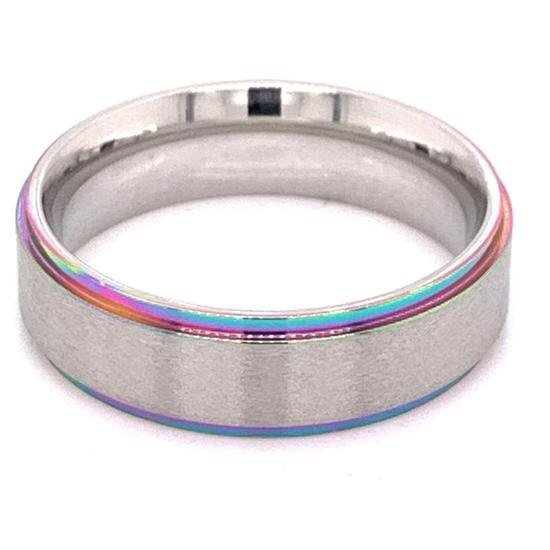 Rainbow Edge Brushed Center Stainless Steel Ring-CFR7014