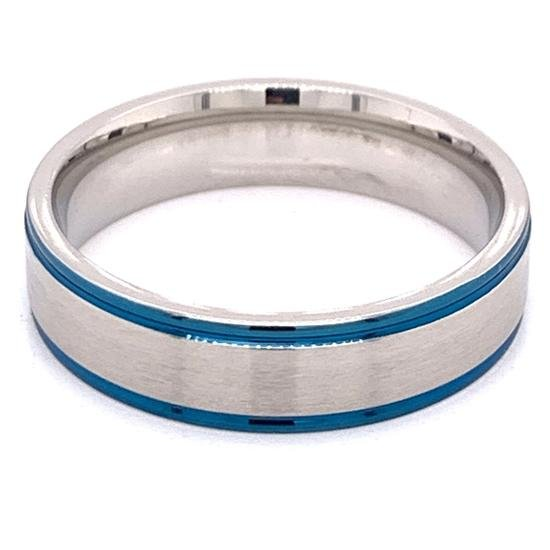 Stainless Steel Ring Blue Trim With Brushed Center-CFR7018