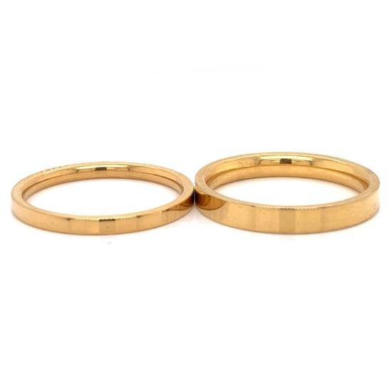 Gold Stainless Steel Flat Edge Ring-CFR7025