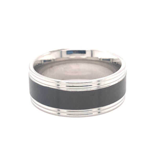 CFR7028 - Black Center Polished Stainless Steel Ring