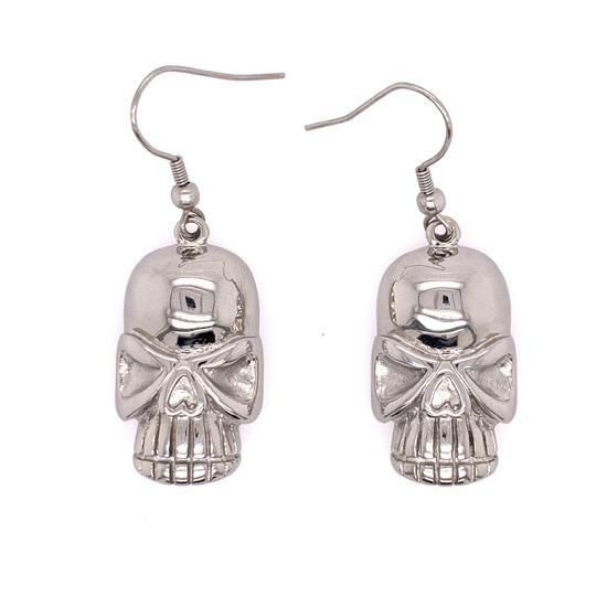 Stainless Steel Skull Wire Earrings-ERC1014