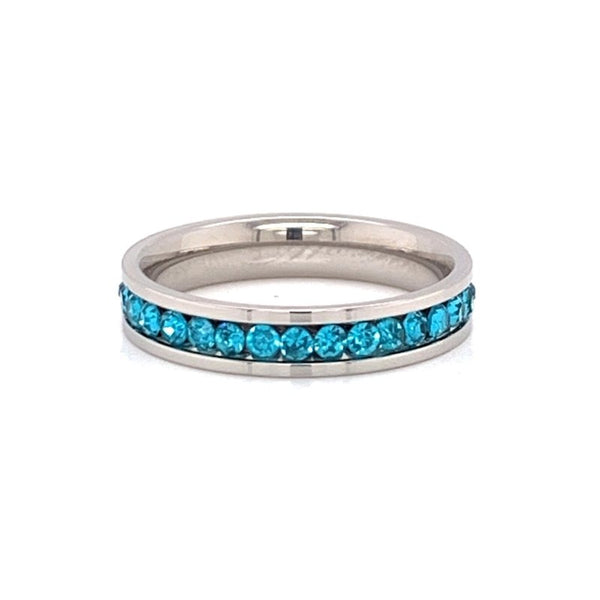 Birthstone Comfort Fit Eternity CZ Stainless Steel Ring-ETR0002