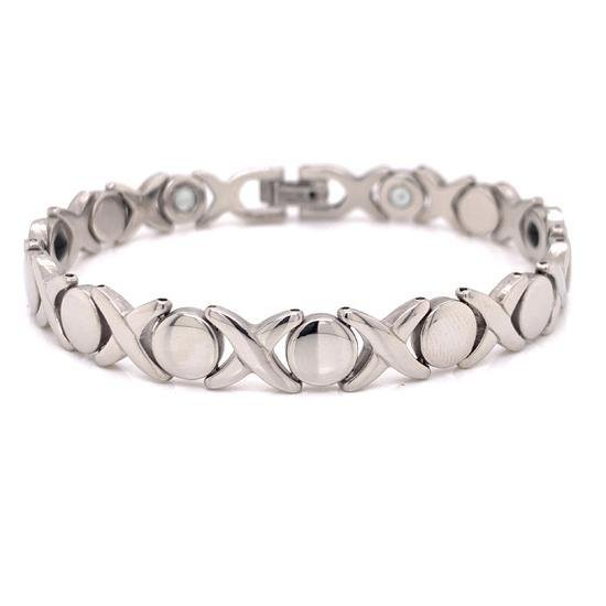 Stainless Steel Magnetic And Germanium Hugs & Kisses Bracelet-MBL0029