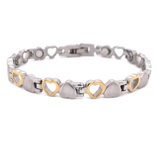 Stainless Steel Magnetic Bracelet with Gold Plated Hearts-MBL019