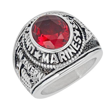 United States Marine Corp Military Stainless Steel Men's Ring with Red Stone-MCR4046