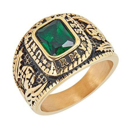 Gold United States Army Green Center Stone Stainless Steel Ring-MCR6005