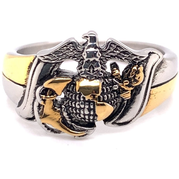 Marine Corps Two Tone United States Military Stainless Steel Women's Ring-MCR6012
