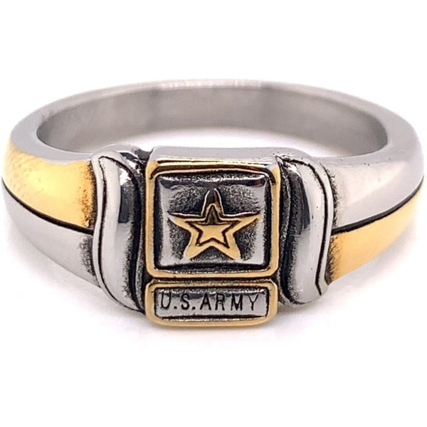 United States Army Two Tone Stainless Steel Women's Ring-MCR6015