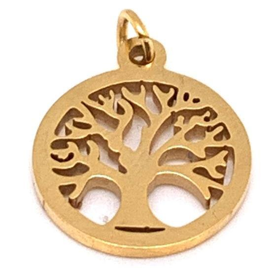 Gold Tree Of Life Charm Stainless Steel-PDC9014