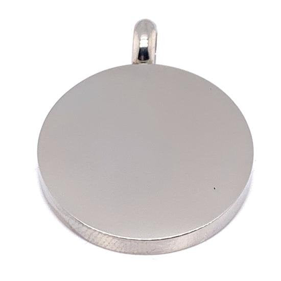 Blank Round Charm Stainless Steel Pendant-PDJ0399
