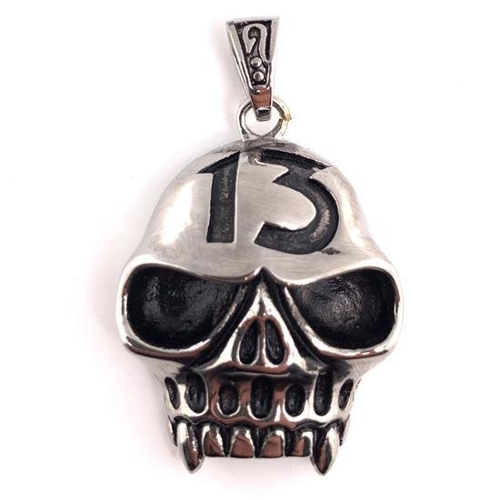 "Large ""13"" Jawless Skull Stainless Steel Pendant-PDL2000"