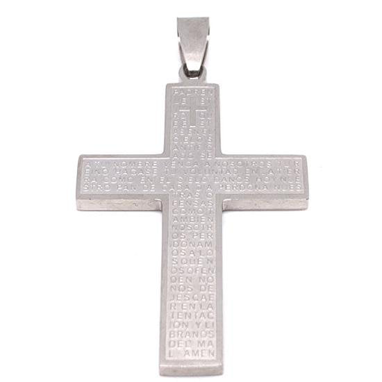 Large Padre Nuestro Spanish Lord's Prayer Stainless Steel Cross Pendant-PDL9002