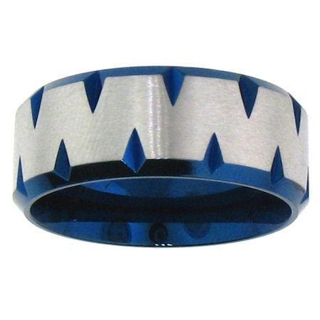 Blue Stainless Steel Zig Zag Center Ring-PRJ0262