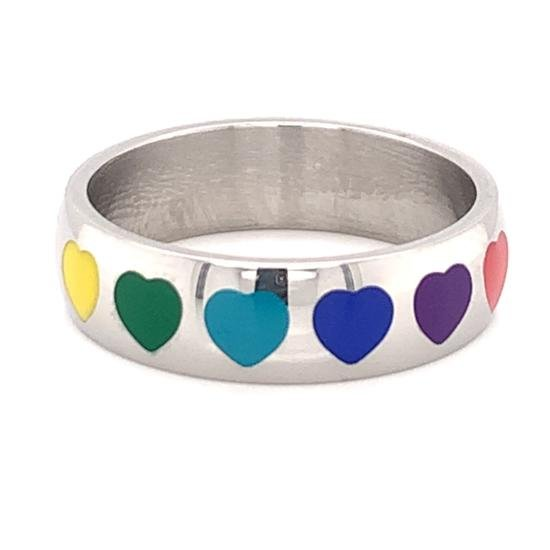 Rainbow Hearts Stainless Steel Ring-RRJ0036