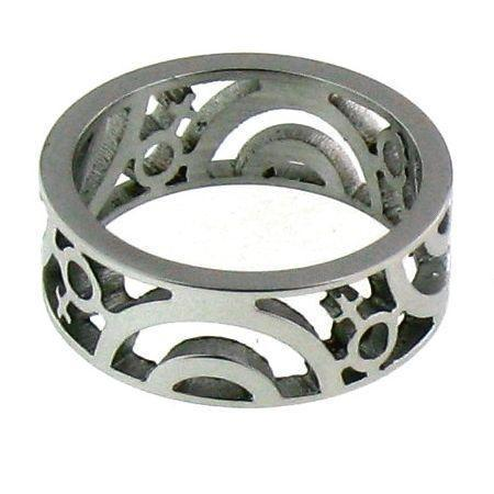 Cutout Female Symbol Stainless Steel Ring-RRJ0098